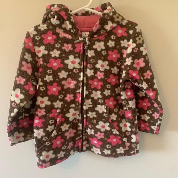 5/$30 Brown & Pink / Floral / Fleece / Hoodie